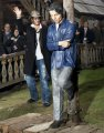 US actor Depp stands next to a life-sized statue of himself during the official...